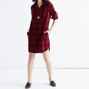 Madewell Red Plaid Flannel Shirt Dress
